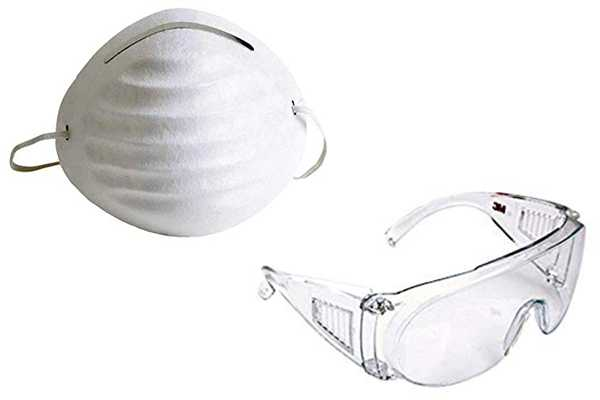 Dust Mask and Eye Googles for protection - Safety Wear